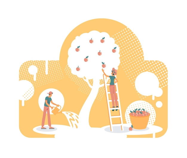 Growing own apple tree flat concept illustration. gardeners take care of garden. 2d cartoon characters for web design. planting, watering tree, harvesting fruit creative idea