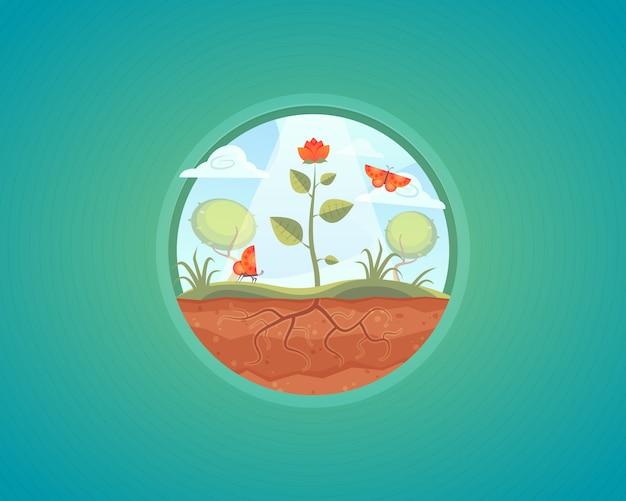 成長する植物のイラスト。地面からの花の成長。漫画のコンセプト。