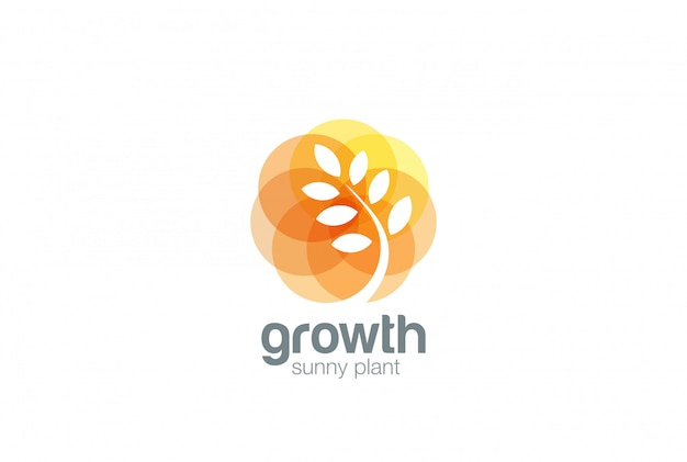 Growing plant logo negative space style.