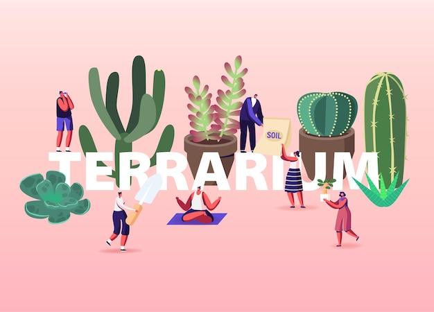 Growing plants in terrarium illustration.