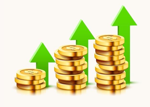 흰색 절연 상승 화살표와 함께 황금 달러 동전의 스택을 성장.