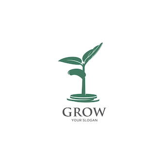 Growing trviee coin  silhouette logo