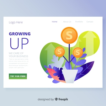 Growing up landing page design