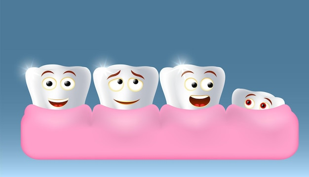 Growing up new tooth character vector illustration children dentistry dental health oral hygiene