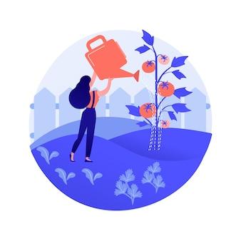 Illustrazione di vettore di concetto astratto di verdure in crescita. giardinaggio domestico per principianti, piantare nel terreno, alimenti biologici, semi di insalata, giardino in contenitori, mangiare metafora astratta di cibo fresco.