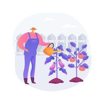 Illustrazione di vettore di concetto astratto di verdure in crescita. giardinaggio domestico per principianti, piantare in terra, alimenti biologici, semi di insalata, giardino in contenitore, mangiare metafora astratta di cibo fresco