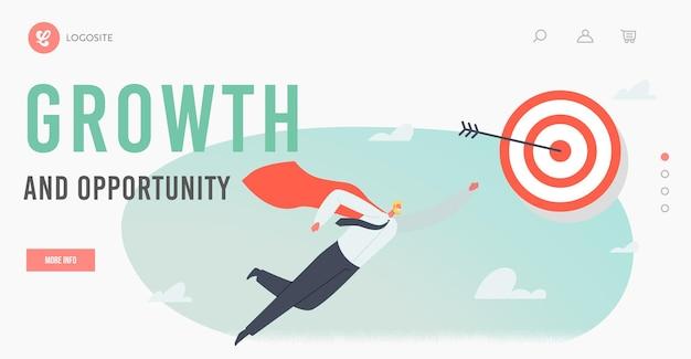 성장 및 기회 방문 페이지 템플릿. 빨간 망토를 입은 슈퍼히어로 사업가 캐릭터, 팔을 들고 있는 슈퍼 직원이 목표를 향해 날아갑니다. 비즈니스 성공, 리더십. 만화 벡터 일러스트 레이 션