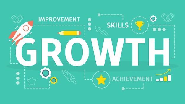 성장과 발전 개념. 금융 증가 아이디어