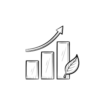 成長矢印手描きアウトライン落書きアイコン。生態学的開発の概念の統計。印刷、ウェブ、白い背景で隔離のモバイルの成長矢印ベクトルスケッチイラストと棒グラフ。