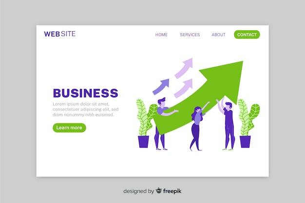 Growth business strategy landing page with arrows