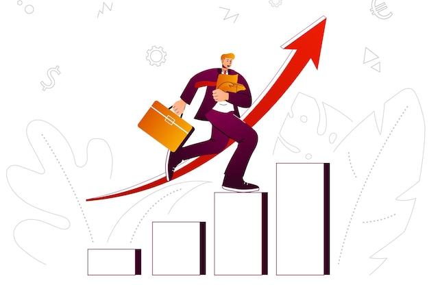 성장 사업 편물 개념 사업가가 새로운 프로젝트 투자 이익을 개발하다