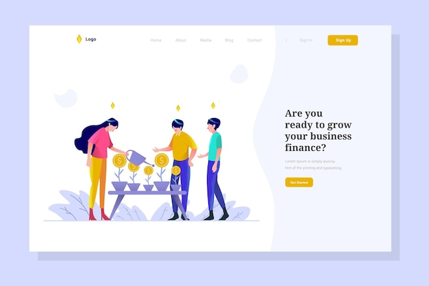 Growth concept illustration on landing page