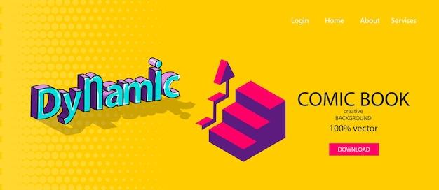 Динамика роста лестница вверх инфографики значок комический текст 3d