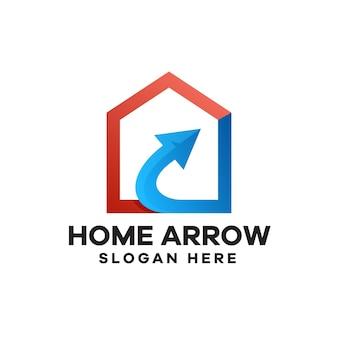 成長ホームグラデーションロゴデザイン
