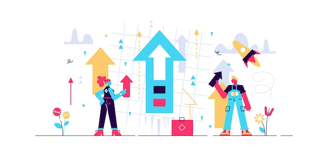 Growth  illustration.  tiny product development persons concept. symbolic and abstract banner with increased technological value presentation and productivity process. business strategy idea