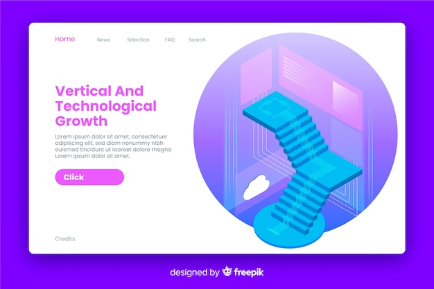Growth landing page isometric style