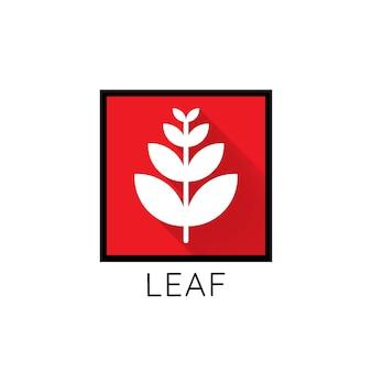 成長葉のロゴアイコン。赤い四角い概念の葉。フラットデザインベクトルイラストレーター。