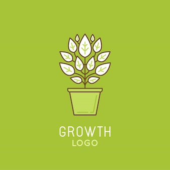 Growth logo template design in trendy linear style