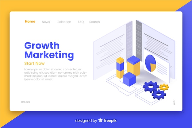 Growth marketing isometric landing page