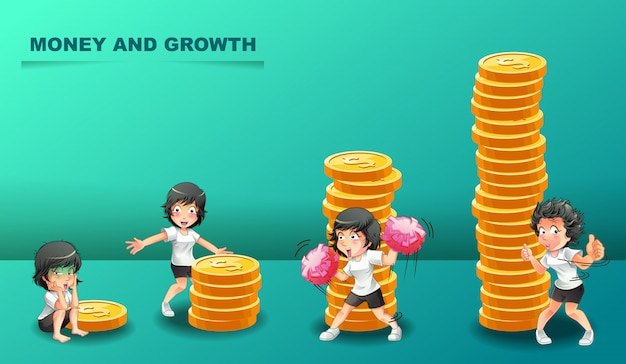 Growth of money and 4 different characters.