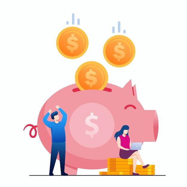 방문 페이지에 대한 성장 돈 투자 및 절약 개념 평면 벡터 일러스트 배너