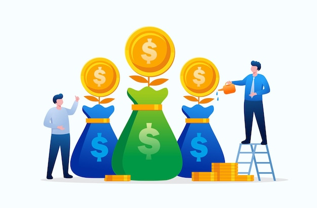 Growth money investment and saving concept flat vector illustration banner for landing page