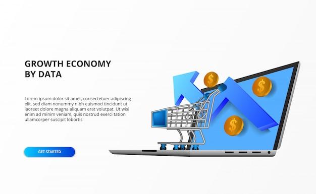 Концепция покупок онлайн экономики роста онлайн с иллюстрацией вагонетки, портативного компьютера, роста вверх стрелки, денег золотой монетки.