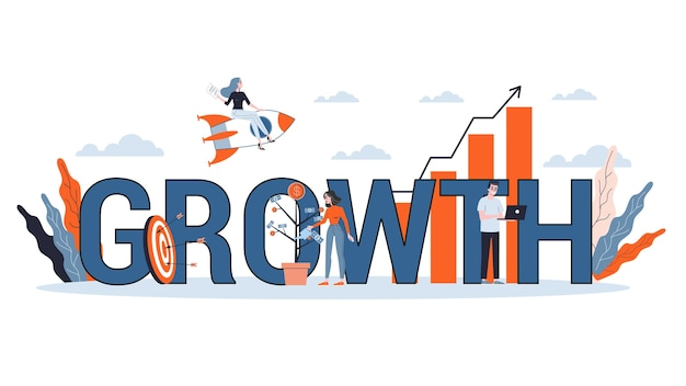 Growth and progress concept. idea of finance increase and business success. arrow pointing up as symbol of profit.   illustration