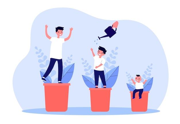 식물의 형태로 아이의 성장 단계. 평면 벡터 일러스트 레이 션. 신생아, 중학생 및 십대 소년은 물뿌리개로 물을 주며 나이에 따라 변합니다. 성장, 원예, 어린 시절 개념