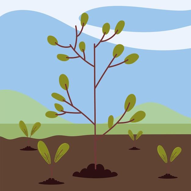 필드에서 성장 나무
