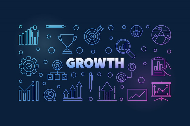 Growth vector colored horizontal background