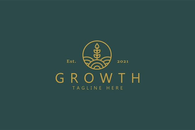 Growth wheat logo. nature plant product symbol for company.