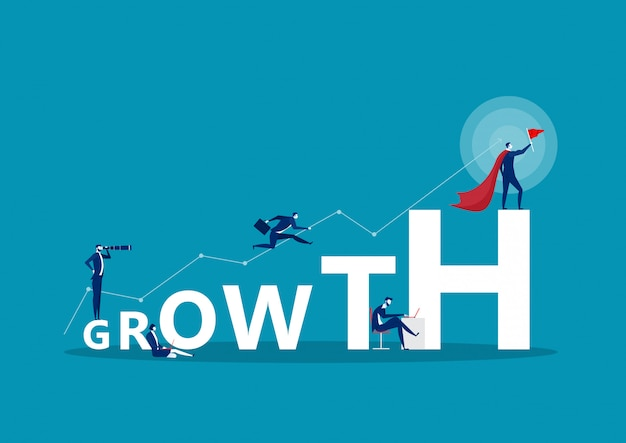 Growth word concept banner. concept with people