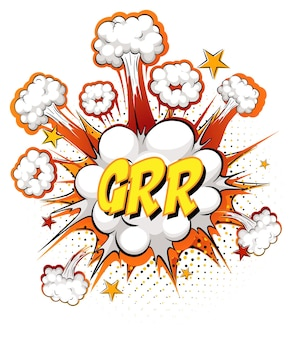 Grr text on comic cloud explosion isolated on white background
