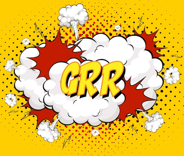 Grr text on comic cloud explosion on yellow background