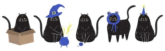 Grumpy black cat in doodle style doing various activities