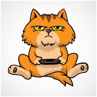 Grumpy cat playing game console cartoon vector illustration