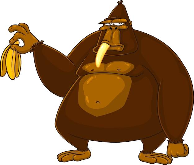 不機嫌そうなゴリラの漫画のキャラクターがバナナを持っています。白い背景で隔離の図