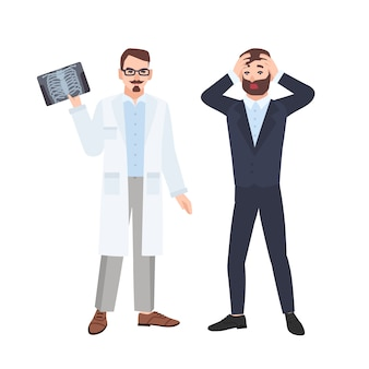 Grumpy male physician or radiologist demonstrating x-ray of rib cage to scared patient and informing him about his diagnosis. medical consultation and diagnostics. flat cartoon illustration.