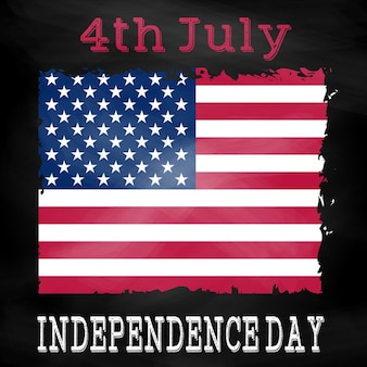 Grunge 4th july background with american flag