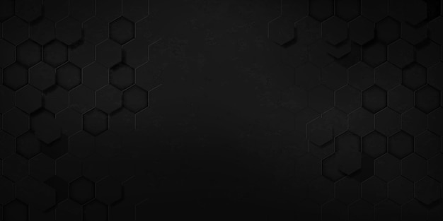 Grunge abstract black hexagon texture sports vector illustration. geometric background. modern shape concept.