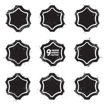 Grunge abstract textured badges vector set