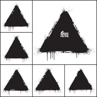 Grunge abstract triangle shapes vector set