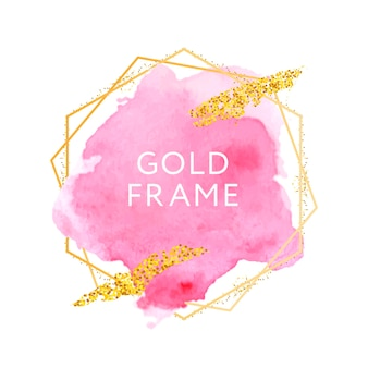 Grunge abstract watercolor brush paint over gold frame. rough paper hand painted