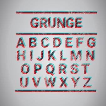 Grunge alphabet capital letters collection text font set