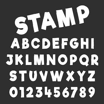 グランジアルファベットフォントテンプレート。素朴なデザインの文字と数字。ベクトルイラスト
