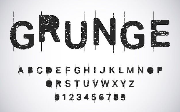 Grunge alphabet template. distressed typography letters and numbers set