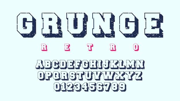 グランジアルファベットテンプレート。レトロなデザインの文字と数字。