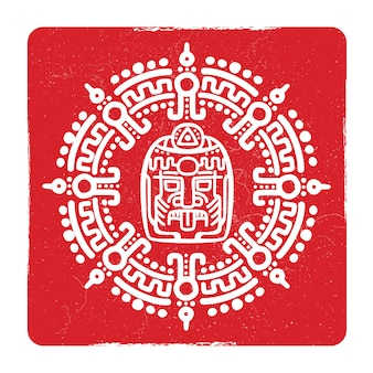 Grunge american aztec, mayan culture symbol