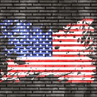 Grunge bandiera americana su un muro di mattoni